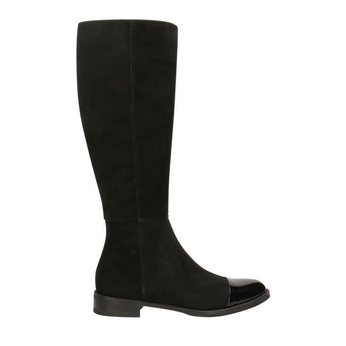 Image for Black suede cap-top knee-high boots