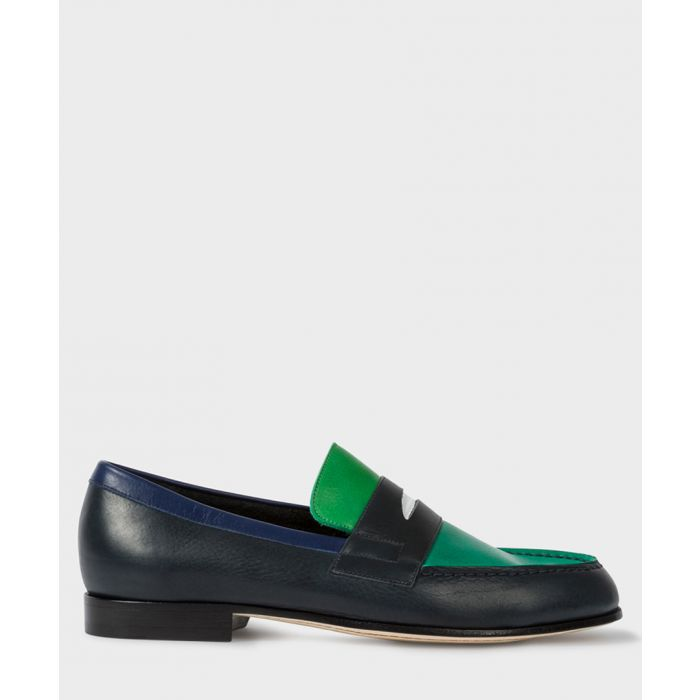 Image for Dark navy & aqua leather slip-ons