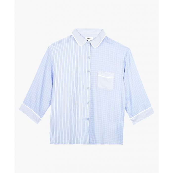 Image for Pale blue striped pyjama top
