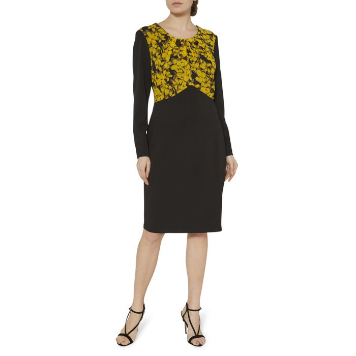 Image for Meena yellow print dress