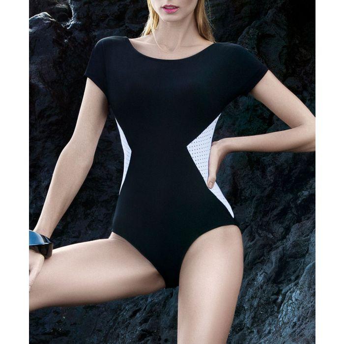 Image for Black side panel short sleeve swimsuit