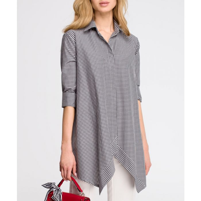 Image for Grey micro-gingham blouse