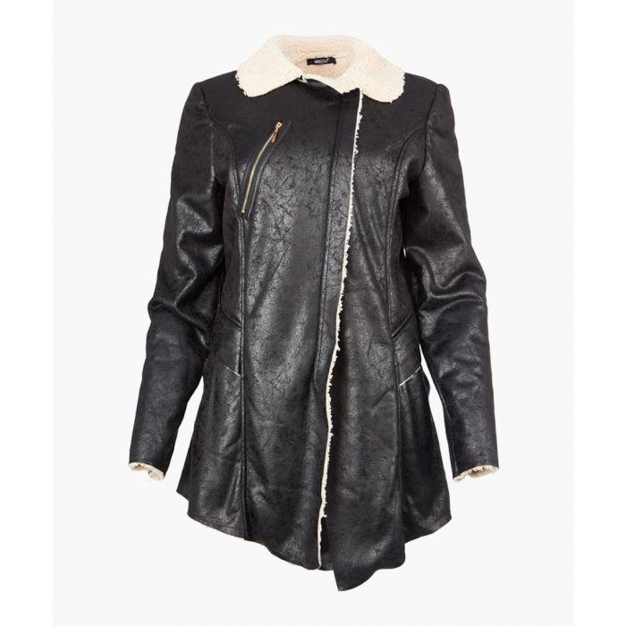 Image for Inês black faux shearling zipped jacket
