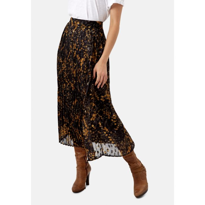 Image for Falls black and mustard pleated polka dot skirt
