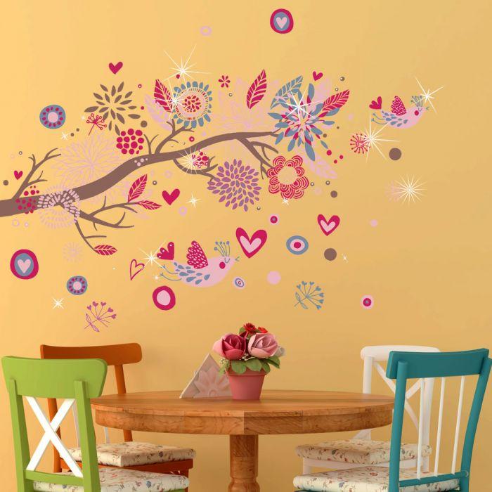Image for Walplus Wall Sticker Decal Wall Art Pink Bird with Swarovski