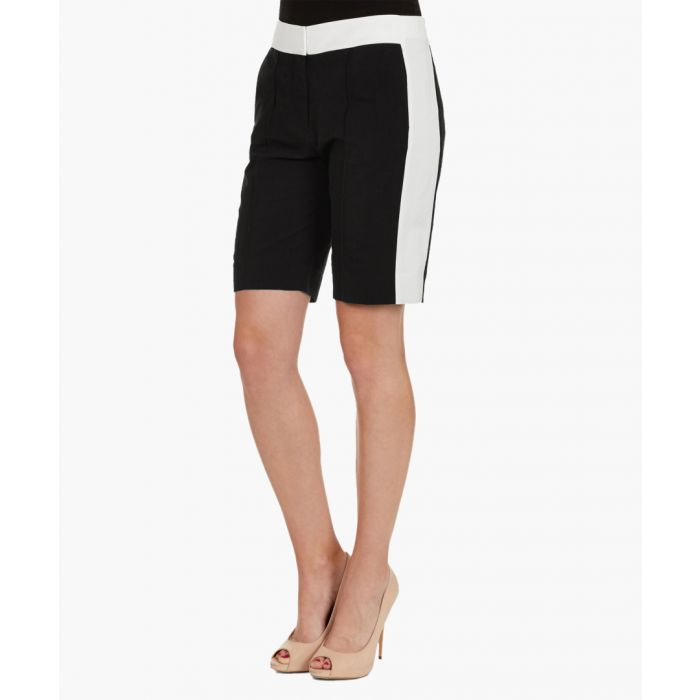 Image for Black & white cotton blend shorts