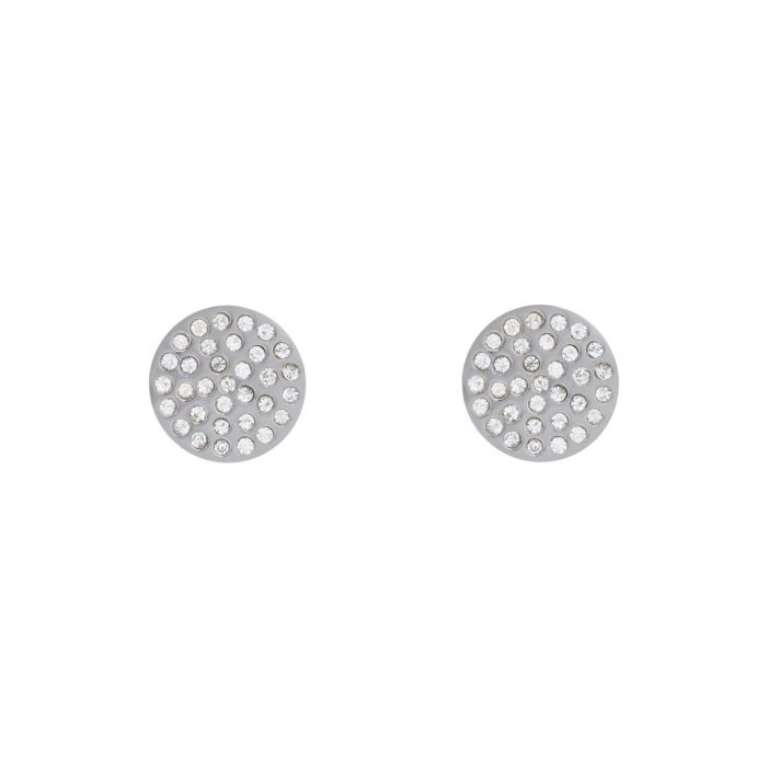 Image for Silver-plated crystal disc earrings