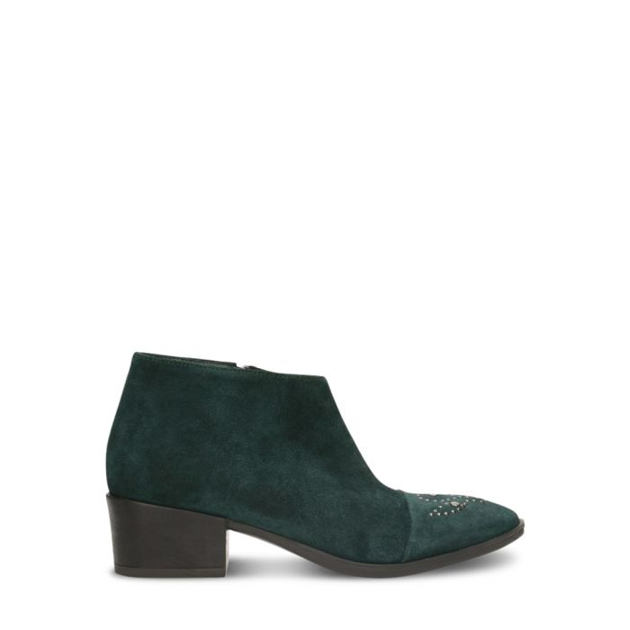 Image for Dark green suede cap-toe ankle boots
