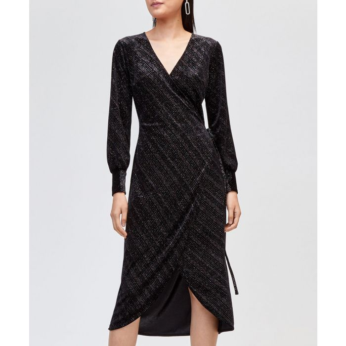 Image for Black shimmer velvet wrap dress