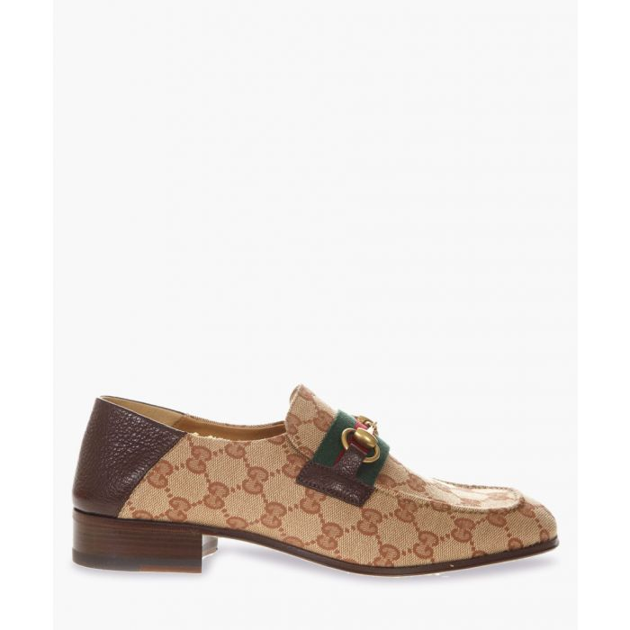 Image for GG brown leather and canvas loafers