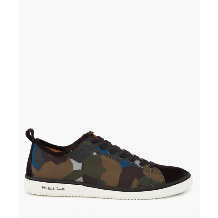 Image for Khaki leather camouflage trainers