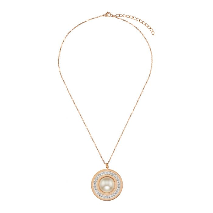 Image for 18k rose gold-plated steel and crystals necklace