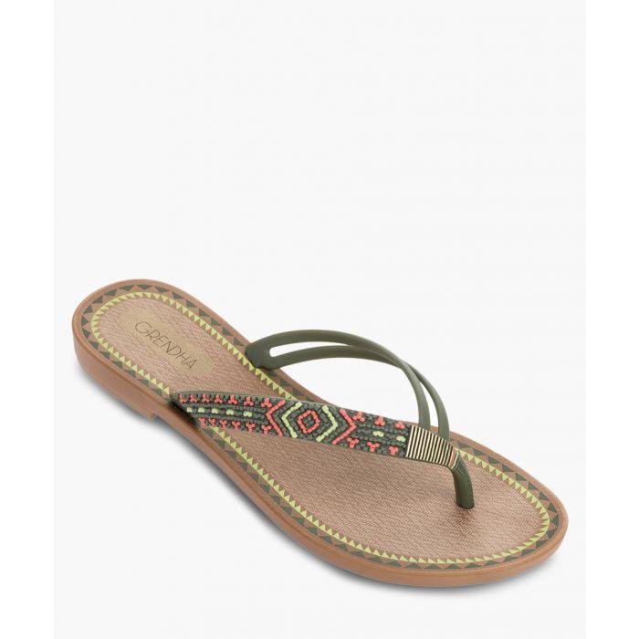 Image for Acai khaki aztec fabric flip flops