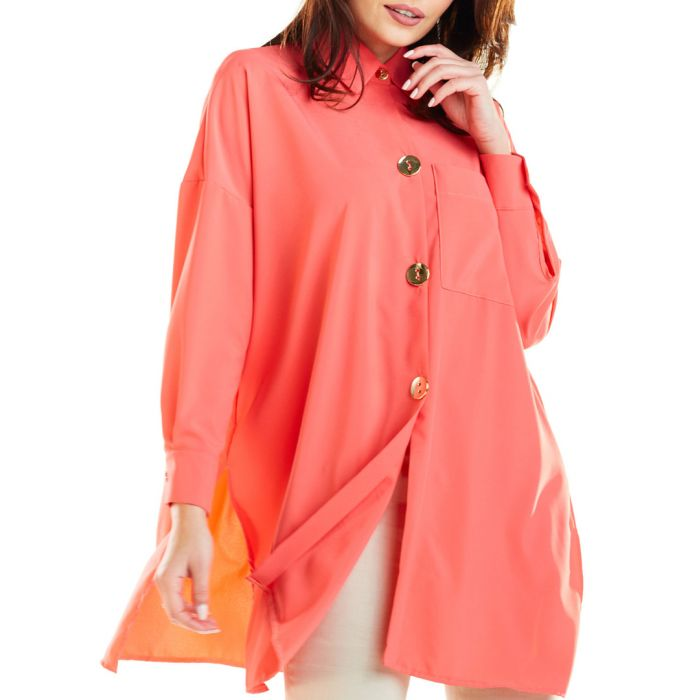 Image for Coral button-up longline shirt