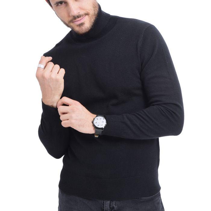 Image for Black cashmere blend turtleneck sweater