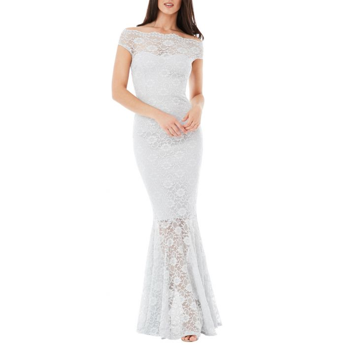 Image for Ash lace layer fluted maxi dress