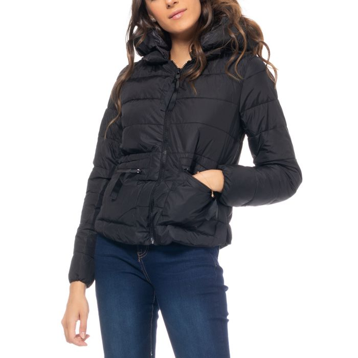 Image for Black zip-up puffer hooded jacket