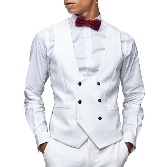 Image for White wool blend waistcoat