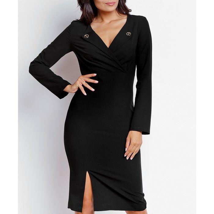 Image for Black lapel detail dress