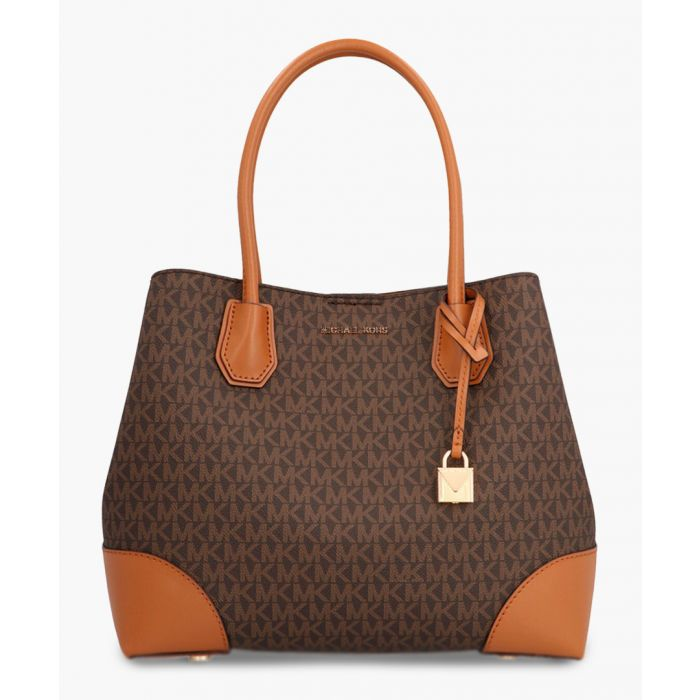 Image for Brown leather monogrammed top handle tote