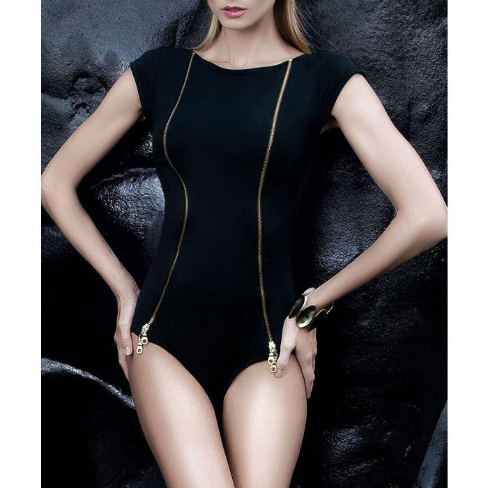 Image for Black zip-detail short sleeve swimsuit