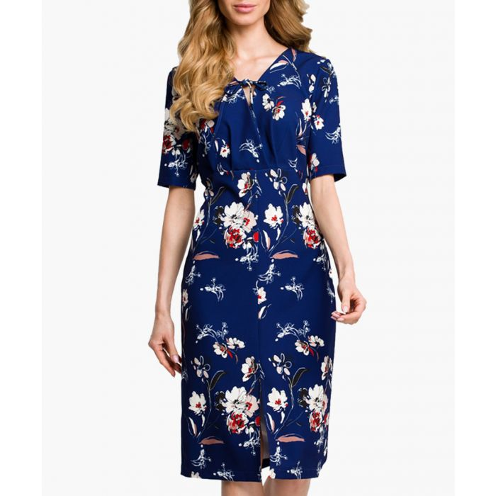 Image for Navy blue floral short sleeve dress