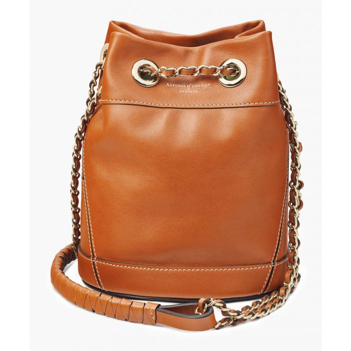 Image for Tan leather bucket crossbody bag