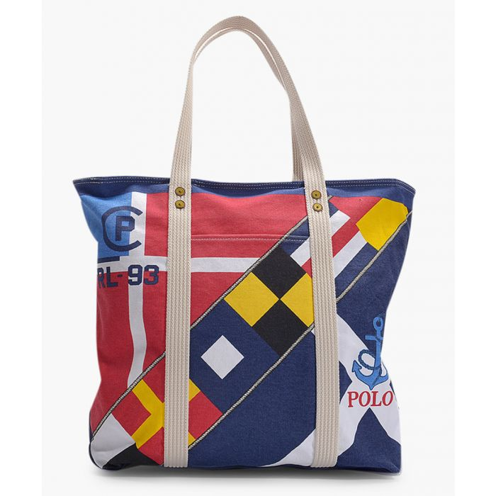 Image for Multi-coloured printed canvas shopper
