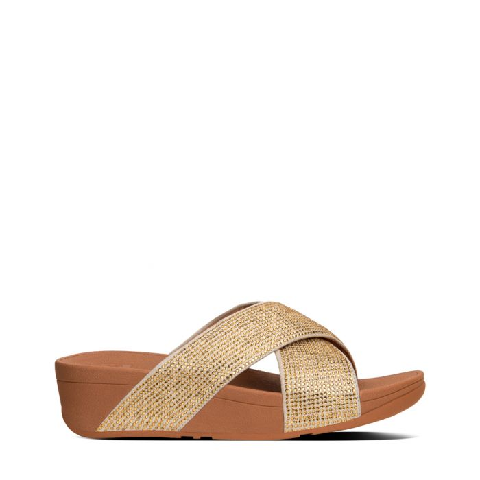 Image for Ritzy gold-tone leather strap sliders