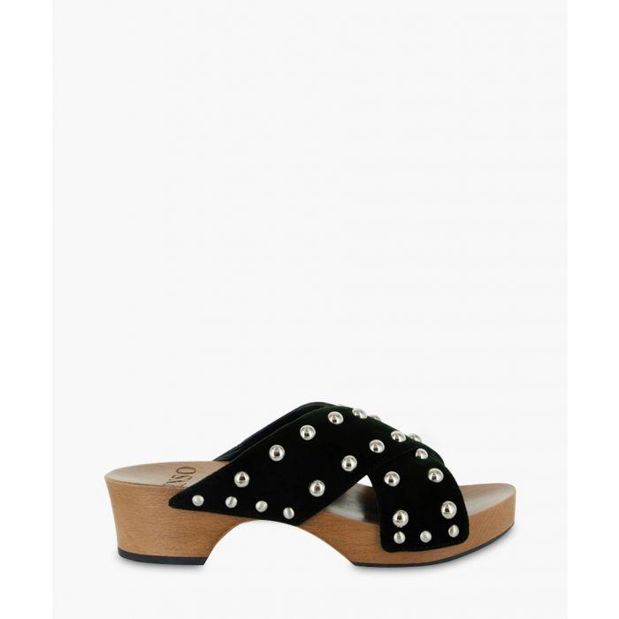 Image for Kyra black velvet embellished slip-ons