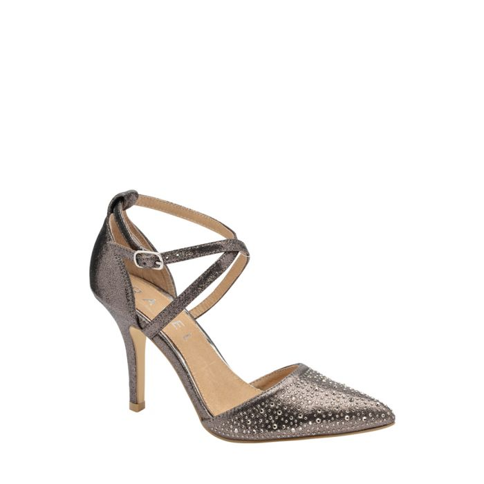 Image for Pewter embellished strap heels