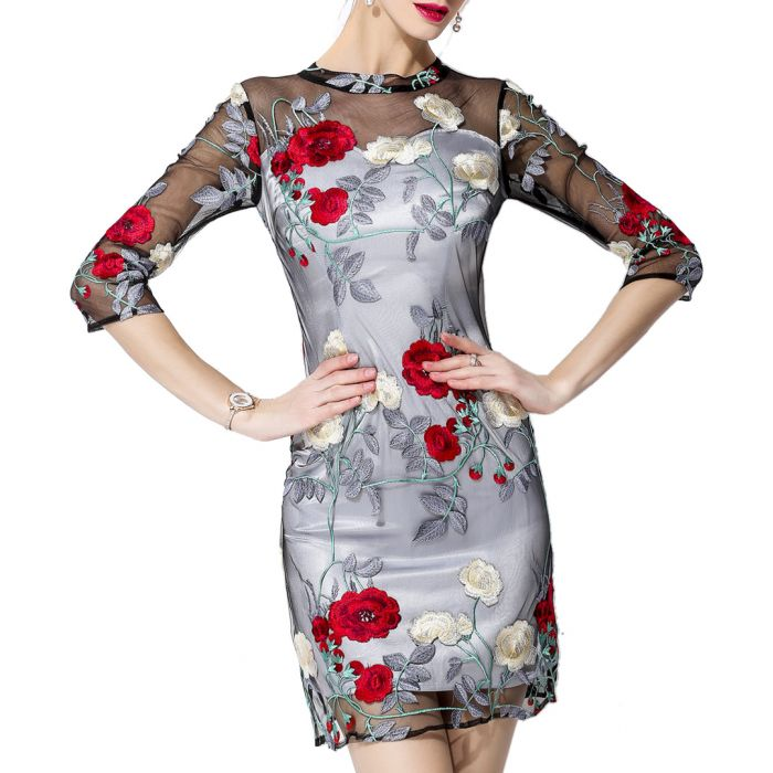 Image for Grey sheer sleeve embroidered dress
