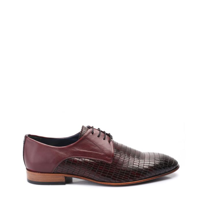Image for Bordeaux textured leather lace-up shoes