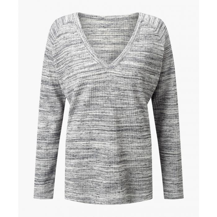 Image for Mia cotton blend grey V-neck top