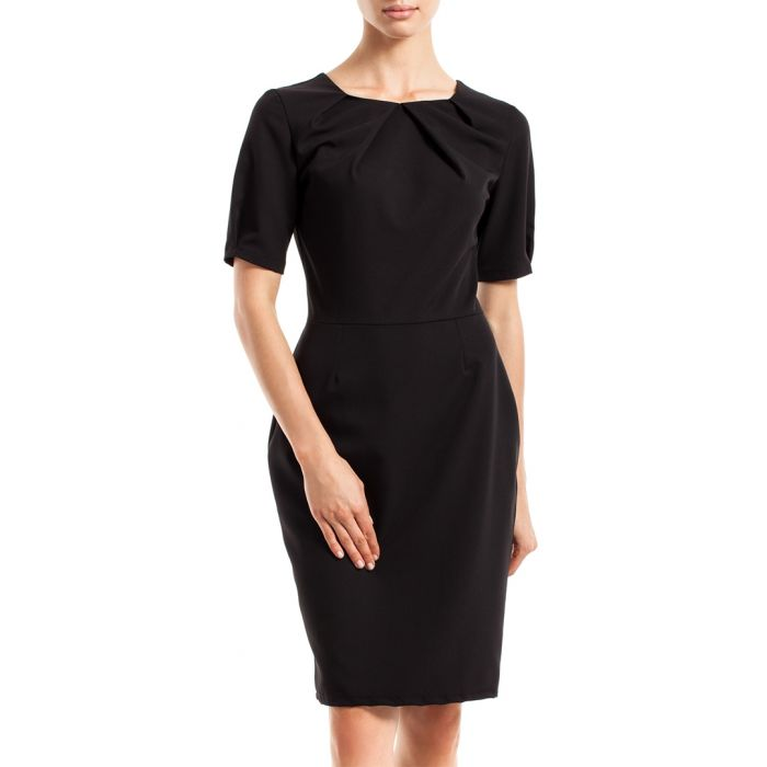 Image for Black pleated neck dress