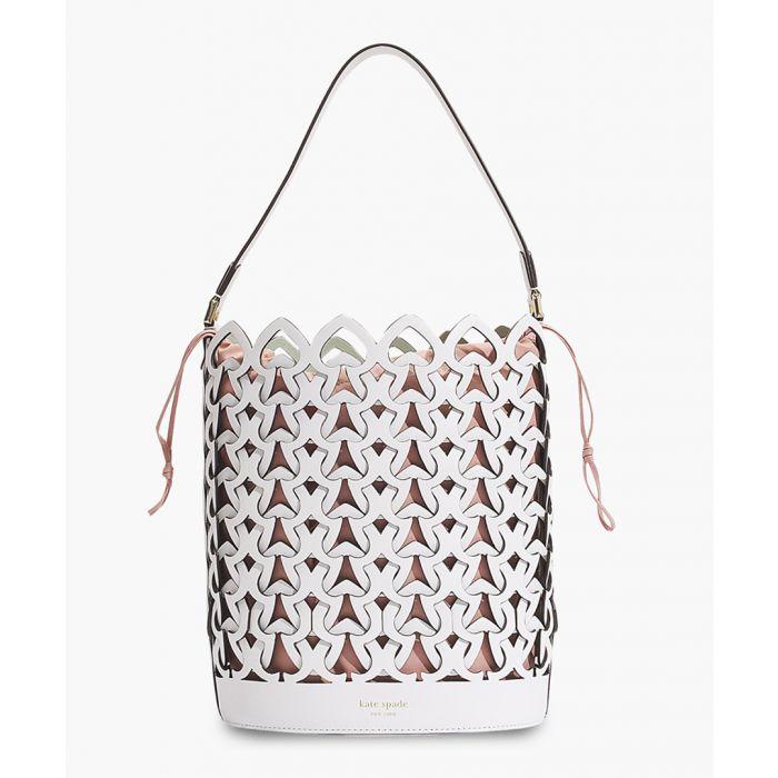 Image for Dorie white leather medium bucket bag