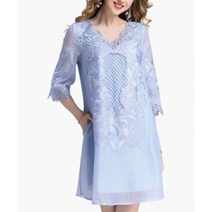 Image for Sky blue overlay half sleeve dress