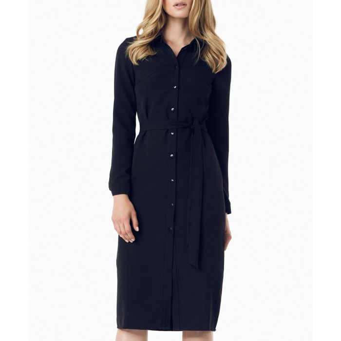 Image for Black button-up midi dress