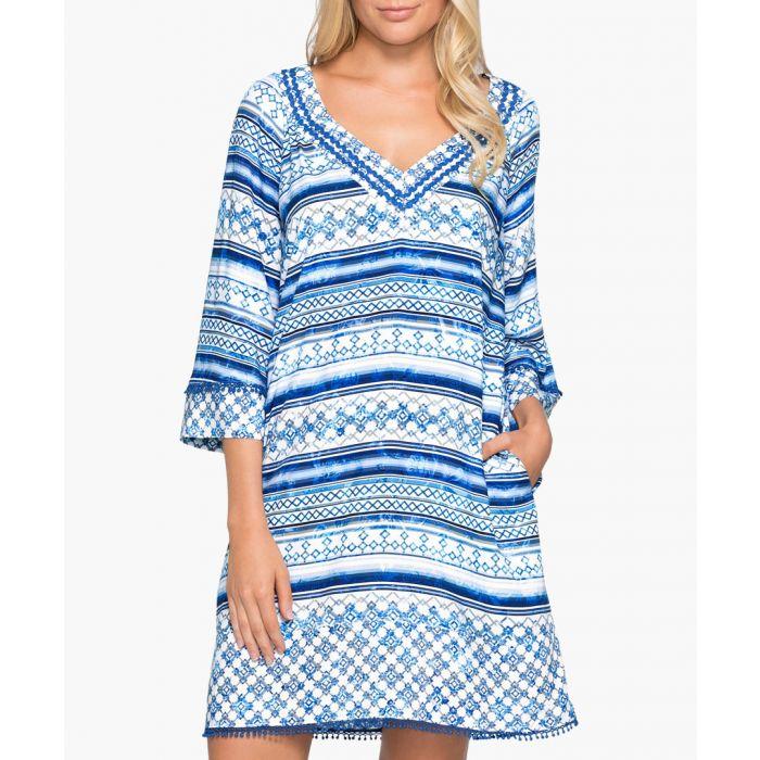 Image for Provence blue V-neck kaftan