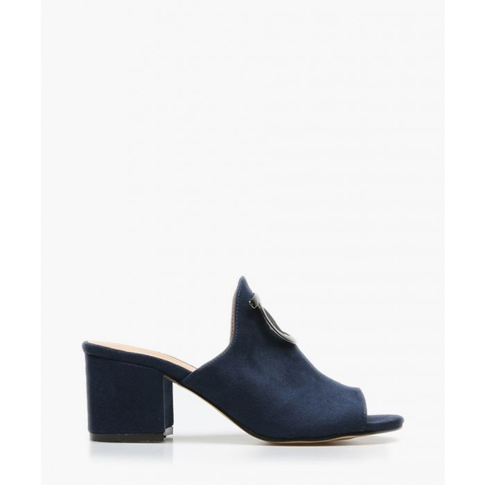 Image for Navy suede peep toe mules
