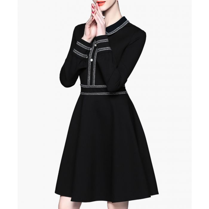 Image for Black triple button A-line mini dress