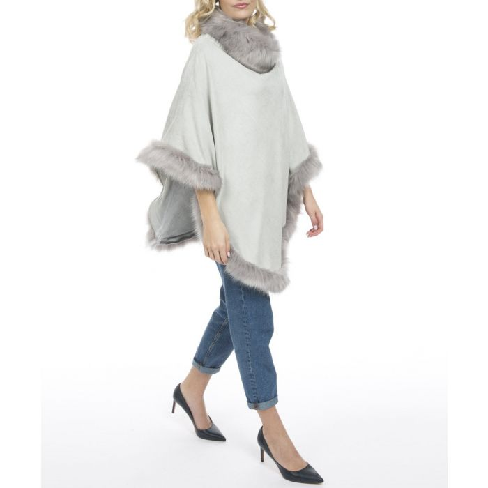 Image for Grey faux fur trim poncho
