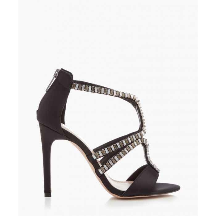 Image for Lost black satin caged heels