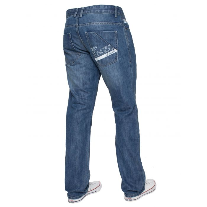 Image for Blue regular fit print jeans