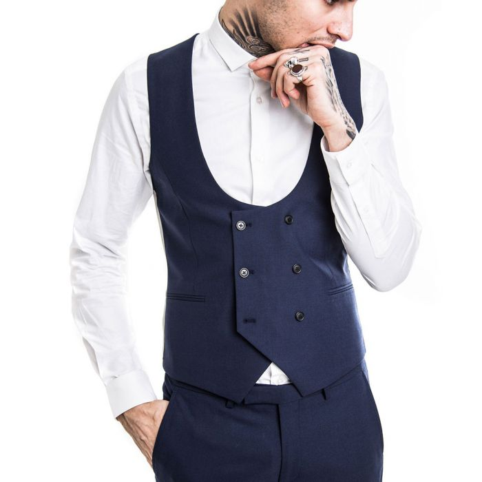 Image for Navy wool blend waistcoat