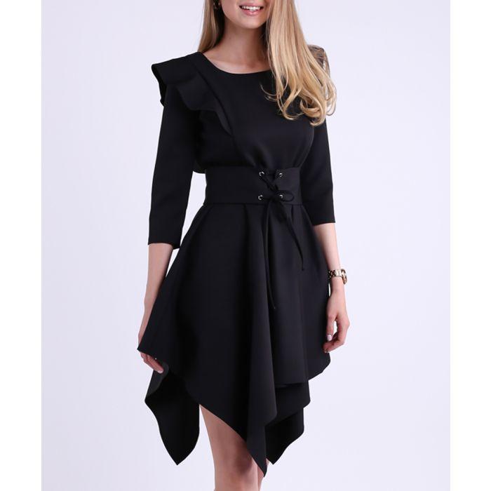 Image for Black asymmetric corset mini dress