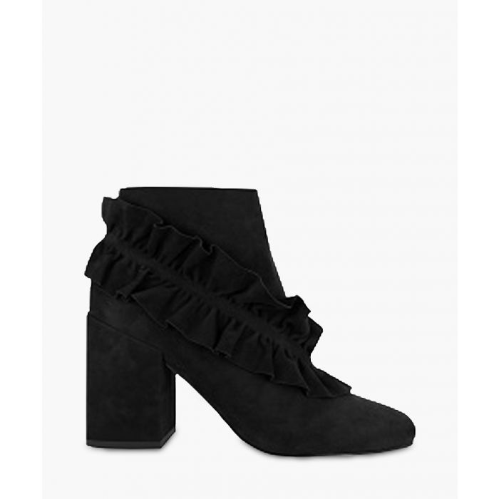 Image for Joelle black suede ruffle ankle boots
