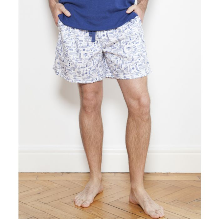 Image for Ben white plane print pyjama shorts