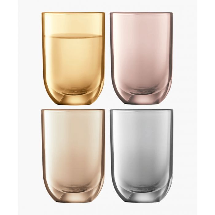 Image for 4pc Polka metallic vodka glass set