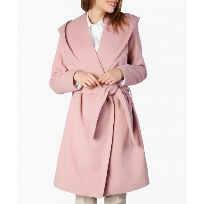 Image for Pink wool and cashmere blend hooded wrap coat